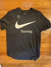 Nike Run Mens Graphic T Shirt Dri-Fit Short Sleeve White & Black Size M
