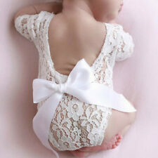 Newborn Infant Baby Girl Boy Photography Props Bow Romper Bodysuit Clothes CA