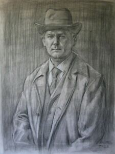 """Mr Crawley or """"Portrait of a man in coat and hat""""  (original charcoal drawing)"""