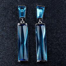 Women's Fashion Zircon Strip Drop/Dangle Earrings 10KT White Gold Filled Jewelry
