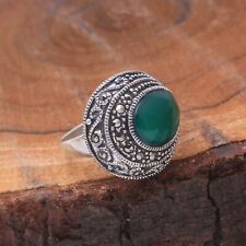 Designer Green Onyx And Marcasite Gemstone 92.5 Sterling Silver Ring Free Ship.