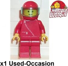 Lego Figurine Minifig City Race Car Pilote Pilot Red Red Helmet zip002 Used