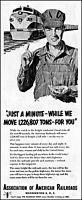 1952 Train engineer Assoc. of American Railroads vintage art Print Ad adL99