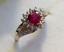 Beautiful Ladies Full Hallmarked 9ct Gold Fancy Red Stone & Diamond Ring - O 1/2
