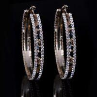 9ct Gold Filled Leopard Print Topaz 6cm hoop earrings