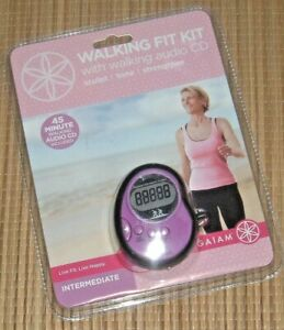 NEW Gaiam Fit Kit Purple Walking Pedometer w 45 Minute CD