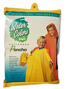Water Colors by Totes Children's Poncho Blue Raincoat Size Medium/Large