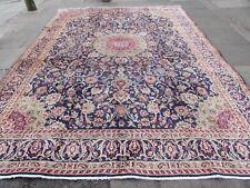 Vintage Worn Hand Made Traditional Rug Oriental Wool Blue Large Carpet 387x285cm