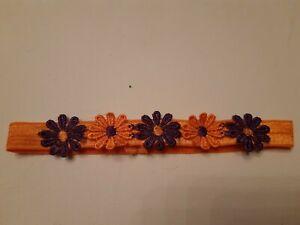 Babies orange Headband  matching 3 purple and 2 orange flowers  ALL SIZES MADE