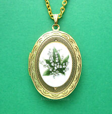 Small Porcelain Lily of the Valley GT Locket Pendant Necklace for Christmas Gift
