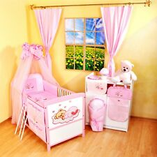 NEW WHITE-PINK 2in1 COT-BED 120x60 WITH 3-PC BEDDING no 15 - MATTRESS INCLUDING