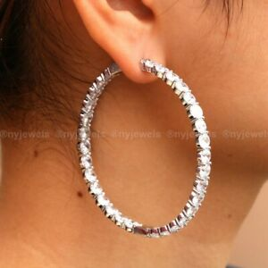 3 CT Round Cut Diamond Inside-Out Hoop Earrings Solid 14k White Gold For Women's