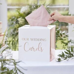 ROSE GOLD AND WHITE OUR WEDDING WISHES CARDS BOX receiving 25cm wishing well NEW
