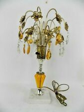 Table Lamp Brass Flowers Amber & Clear Crystal Waterfall Marble Base Vintage EUC