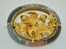 Victorian Scottish 18K & 12K Yellow Gold Garnet Thistle Banded Agate Brooch