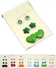 Pack of THREE pairs hearts diamante stars stud earrings
