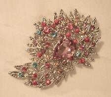 Pink Pear Silvertone Brooch Pin Lovely Colorful Pasteled Cascading Rhinestones
