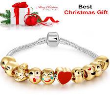 18k Gold Plated Beads 3d Emoji Bracelet Charm Christmas Ladies Girls Babies Gift