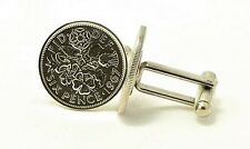 Lucky Wedding English Sixpence Coin Cufflinks
