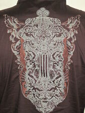 7 DIAMONDS EMBROIDERED GOTHIC ART BROWN STRETCH FITTED long sleeve SHIRT XL L