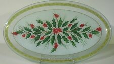 GORHAM FESTIVE HOLLY OVAL FUSED XL GLASS SERVING PLATTER RETIRED PIECE 18""