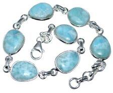 Sterling SILVER Blue Larimar Bracelet RARE Gemstone Unique Handmade 925 Jewellry