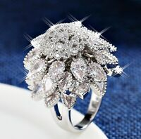 Thick 18K White Gold GF Unique Full Diamond Studded Flower Cluster Cocktail Ring