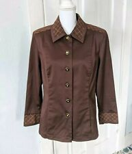 St John Sport Women's Small Brown Jacket Faux Suede Quilted Look Trim