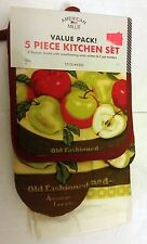 5 pc KITCHEN SET: 2 POT HOLDERS, 1 OVEN MITT & 2 TOWELS, OLD FASHIONED  APPLES