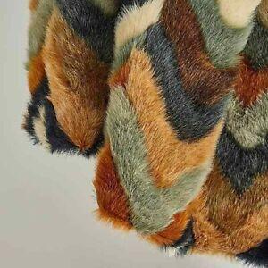 Luxury Multi Chevron Zig-zag Faux Fur Throw Blanket Bed Sofa Bedroom 130x180cm