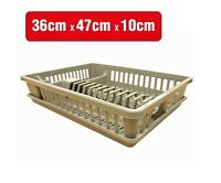 Plastic Dish Rack Plate Drying Cutlery Holder Drainer Set 100% Brand New Beige