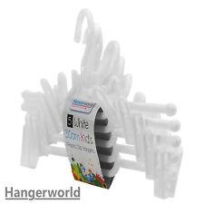 Hangerworld™ 30cm Percha Niños Todo Plástico Gancho Pinzas Falda Pantalones