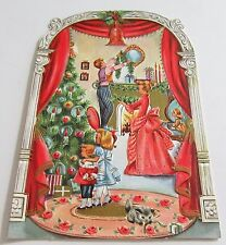 Used Vtg Christmas Card Victorian Family Decorating Parlour for Christmas