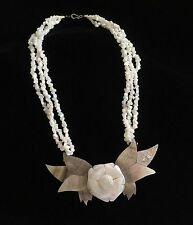 Large Flower Multi Strand Vintage Mother of Pearl Statement Necklace Carved