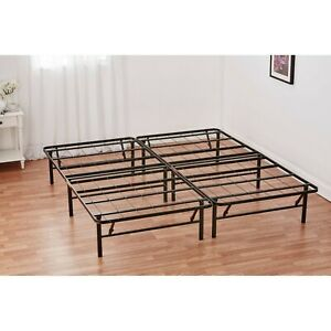 Queen Size Foldable Bed Frame, 14 Inch Black Powder-coated Steel