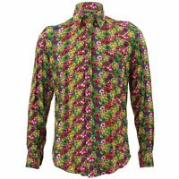 Mens Loud Shirt Retro Psychedelic Funky Party TAILORED FIT Multi Floral