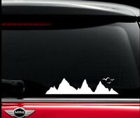 Mountain and Birds white sticker decal for cars and windows. Australian made