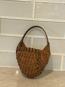 Small Vintage Wicker  Woven Wood Splint Basket Wall Pocket
