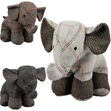 Large Tartan Heavy Fabric Elephant Door Stop Home Office Animal Cuddly Toy Doors