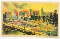 San Francisco California Postcard Trail Of The Earthquake Fire 1906 Bird's Eye