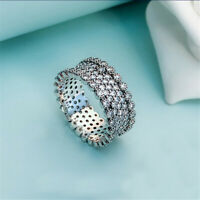 New Authentic Silver Lavish Sparkling Pave Band Ring,Clear CZ All Size