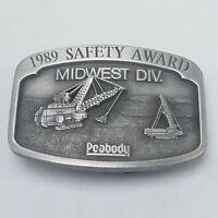 """VINTAGE PEABODY COAL COMPANY Safety Award Pewter BELT BUCKLE 1989 3"""" x 2"""" EUC"""