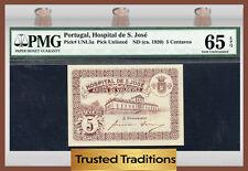 TT PK UNL5a 1920 PORTUGAL 5 CENTAVOS PMG 65 EPQ GEM UNCIRCULATED!