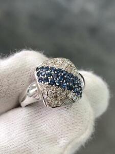 14k White Gold Genuine Diamonds & Blue Sapphires Pave Cushion Halo Ring Sz 6.5