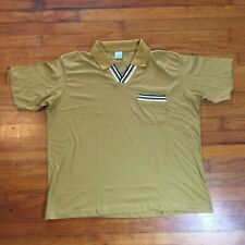 Vtg Haband Men Sz Xl Pocket V Neck Polo Collar Shirt Brown Mustard Yellow New
