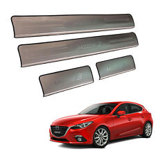 Premium Scuff Plate Step Protect Trim Fit 2015+ Mazda 3 Sedan 4 Door Chrome