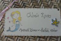 Mermaid Room Sign Hanging  Plaque Personalised Girl Nursery Playroom Bedroom