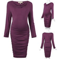 Women Long Sleeve Pleated Maternity Cotton Hips-Wrapped Bodycon Pencil PromDress
