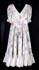 VTG HANDMADE IVORY ROSES FLORAL RUFFLE COTTON COTTAGE PEASANT MAXI DRESS Sz XS/S