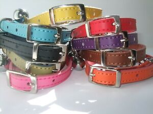 Cat Collar REAL LEATHER Genuine SAFETY ELASTIC metal buckle bell 9 colours